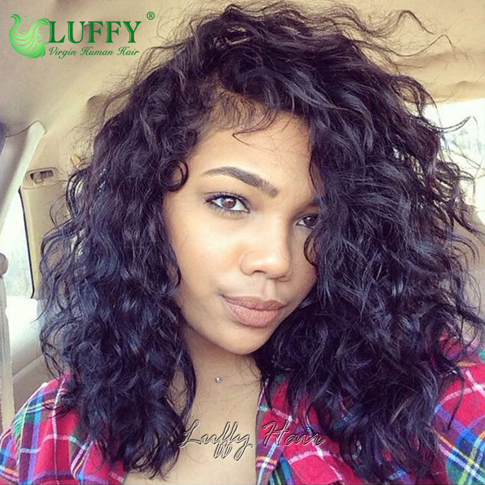 13x6 Natural Curly Wave Short Bob Full Lace Lace Front Wigs 7a Grade