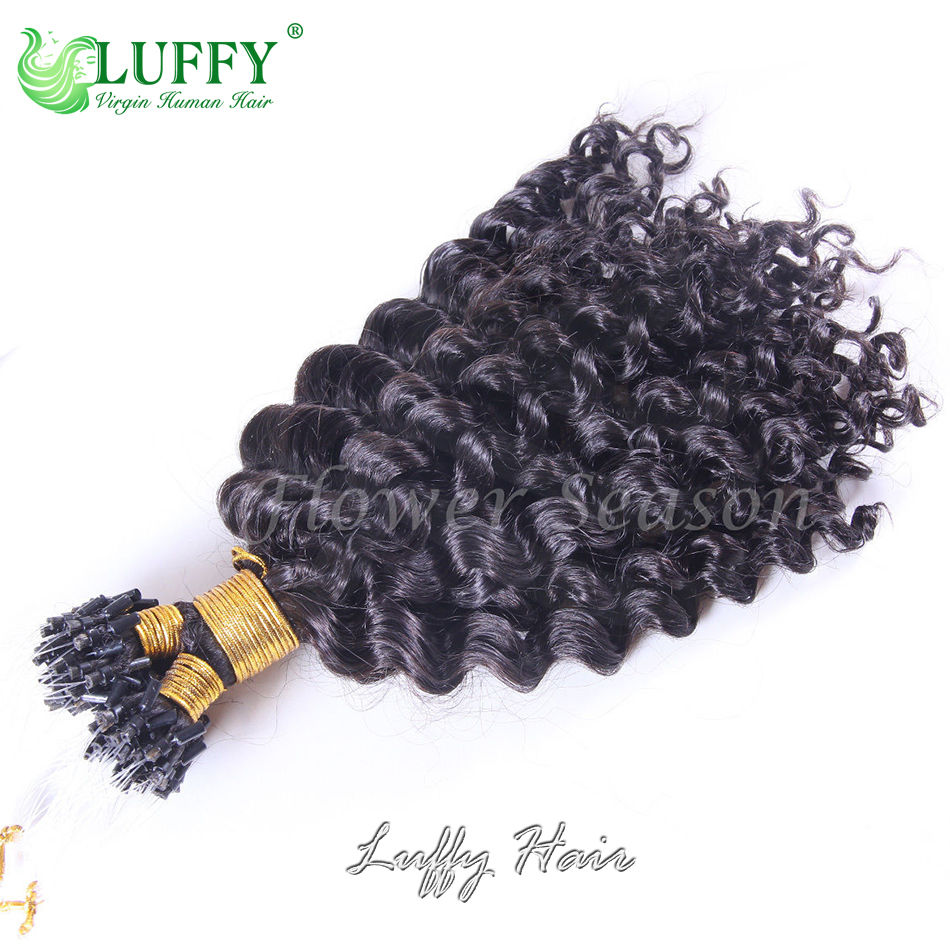 8a Brazilian Virgin Human Hair Curly Micro Loop Ring Hair Extensions