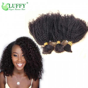 9A Afro Kinky Curly Human Braiding Hair Bulk Brazilian Virgin Hair Afro Kinky Curly Bulk For Braiding- BK002