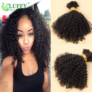 100% Virgin Peruvian Human Hair Bulk Afro Kinky Curly Bulk Hair For Braiding- BK006