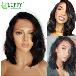 Glueless Bob Lace Front Human Hair Wigs Short Human Hair Wigs Wavy Lace Front Wigs For Black Women Brazilian Lace Wig Remy 130% Density- WL019
