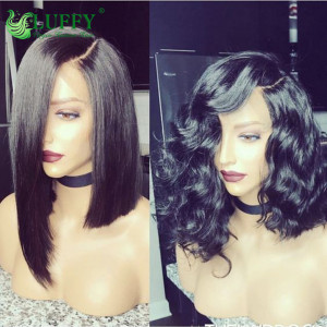 "Hot Sale 13x6 Silky Straight 14"" 150% Density Bob Lace Front Human Hair Wigs Glusless Full Lace Bob Wig Left Part - BOB010"