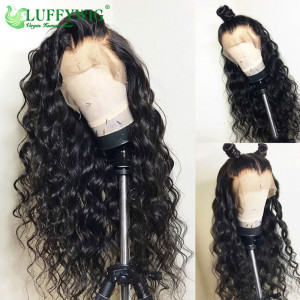 Luffy Brazilian Pre Plucked Full Lace Human Hair Wigs With Baby Hair Glueless Non-remy Hair Water Wave Natural Black For Women- FLW017