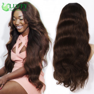 2020 New Color #4 Lace Front Human Hair Wigs Unprocessed Virgin Full Lace Wig Glueless Peruvian Lace Wig Human Hair Full Lace Wig Body Wave - FLW011