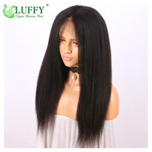 Luffy 13x6 Deep Frontal Brazilian Lace Front Human Wigs With Baby Hair Pre Plucked Glueless Yaki Straight For Women Non Remy - WLJ019