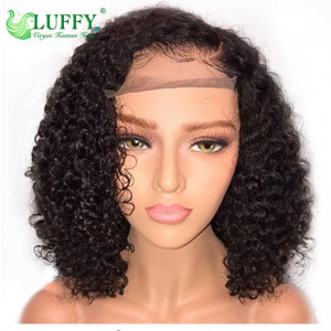 "Luffy Short 13x6 Lace Front Human Hair Wigs Pre Plucked With Baby Hair Curly Brazilian Remy Hair Lace Front Bob Wigs 10""-14""- WL011"
