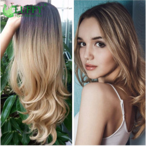 Lace Front #1b/#27 Ombre Color Long Blonde Human Hair Wigs For Black/White Women High Temperature Glueless Cosplay Hair Wigs - WG001