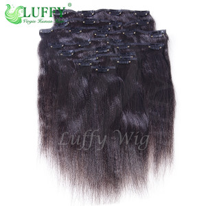 9A Brazilian Virgin Human Hair 70 Grams Italian Yaki Straight Clip In Hair Extensions - CH002-70g