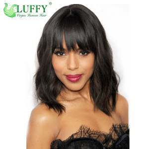 "9A Brazilian Virgin Human Hair 8""-14"" Short Natural Wave Wig With Bangs - LW069"