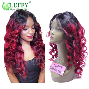 11A Brazilian Virgin Human Hair Ombre #1B/Burgundy Body Wave Wig - LW029
