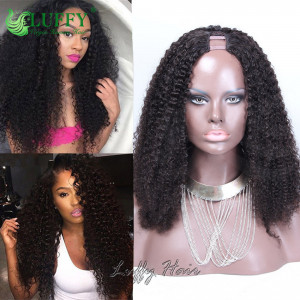 8A Brazilian Virgin Human Hair Afro U Part Wig - UWAL010