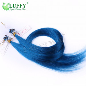 8A Brazilian Virgin Human Hair Blue Silky Straight Micro Loop Ring Hair Extensions - MLRAL005
