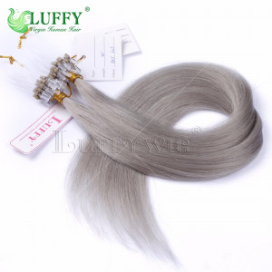 8A Brazilian Virgin Human Hair Grey Silky Straight Micro Loop Ring Hair Extensions - MLRAL008