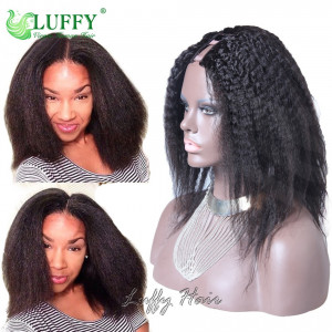 9A Brazilian Virgin Human Hair Kinky Straight U Part Wig - UWAL004