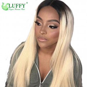 10A Straight #1B/#613 Lace Front Human Hair Wigs Pre Pulacked With Baby Hair 150% Density Brazilian Remy Hair Bleached Knots 16-30'' Lace Front Wig - JM115