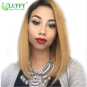 1B/27 Ombre Color lace Front Wigs Pre Plucked Straight Remy Hair Brazilian Human Hair Wigs With Baby Hair Luffywig - TS007