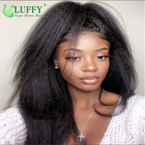 Luffy Kinky Straight Yaki Full Lace Human Hair Wigs Pre Plucked Hairline Brazilian No - Remy Hair Bleached Knots For Women - MJ005