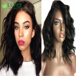 Good Feedback 13*6 Short Lace Front Wigs 130% -180% Density 100% Human Hair Natural Wave Bob Wig With Baby Hair - KLW001