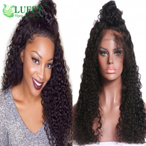 Glueless Full Lace Wigs Brazilian Virgin Human Hair Curly Wig For Black Women Pre Plucked Natural Hairline Bleached Knots Full Lace Wig With Baby Hair- KLW005