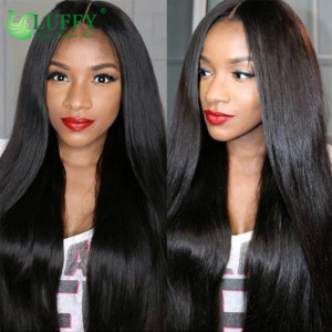 Luffy Pre Plucked Glueless Peruvian Full Lace Human Hair Wigs With Baby Hair Natural Color Non Remy Straight Hair Wig Bleached Knots- stw001