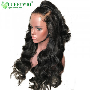 Luffy Pre Plucked Glueless Peruvian Full Lace Human Hair Wigs With Baby Hair Natural Color Non-remy Hair Water Wave Natural Black For Women- luffywig001