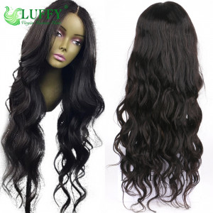 Luffy 13x6 Glueless Lace Front Human Hair Wigs for Black Women Middle Part Brazilian Non Remy Hair Wavy Wig Pre Plucked Hair line- FLW018