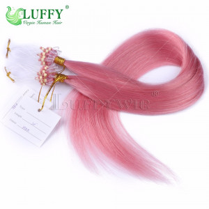 8A Brazilian Virgin Human Hair Pink Silky Straight Micro Loop Ring Hair Extensions - MLRAL006