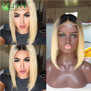 Luffy Short Bob #613/#1B/#60 Full Lace Human Hair Wigs For Women Pre Plucked Brazilian Remy Hair Wigs Bleached Knots With Baby Hair  - JM113
