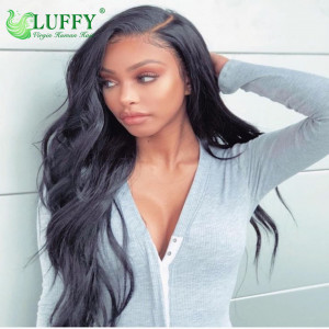 Luffy Pre Plucked 9A Grade 100% Virgin Hair Wavy Lace Front Wig Glueless Brazilian 16-30'' Lace Front Human Hair Wigs With Baby Hair - MJ013