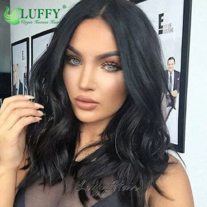 130%-150% density 10''-14'' Natural wave Virgin Brazilian hair short bob human hair full lace human hair wavy wigs for black women  - BOB008