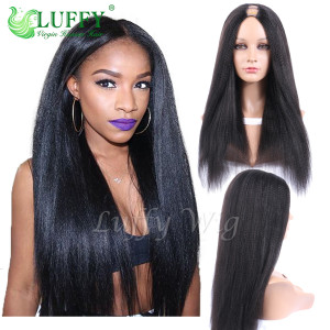 8A Brazilian Virgin Human Hair Italian Light Yaki Straight U Part Wig - UW004