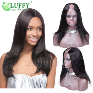 8A Brazilian Virgin Human Hair Silky Straight U Part Wig - UW003