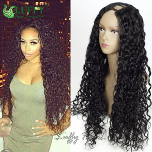 8A Brazilian Virgin Human Hair Kinky Curly U Part Wig - UW001