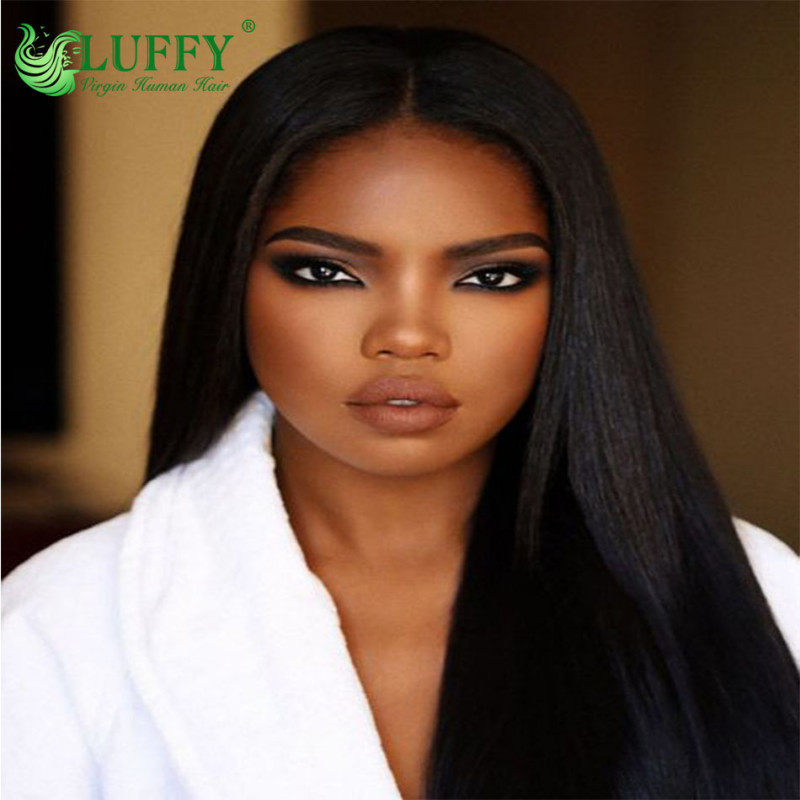 (stock in Us warehouse)Luffy Silky Straight Lace Front Human Hair Wigs Pre Pulacked With Baby Hair Brazilian No - Remy Hair Bleached Knots Natural Color  - MJ003