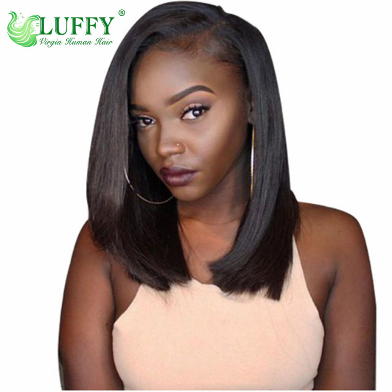 (2 Days Shipping From Us Warehouse)Glueless Bob Wig130% Density Brazilian Straight Short Lace Front Human Hair Wigs For Black Women With Baby Hair  - WL012