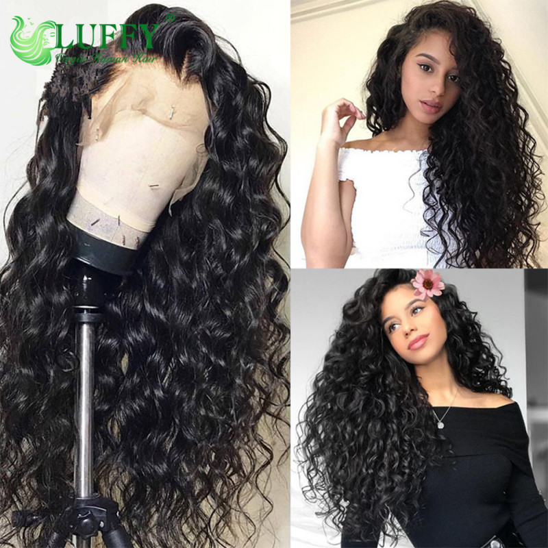 Curly Lace Front Human Hair Wigs For Women Black Color Brazilian Lace Wig Frontal Plucked Full End Can Make 360  - WLJ015