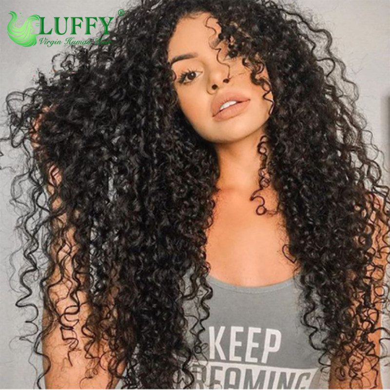 150% Density Curly Lace Front Human Hair Wigs For Women Natural Black Pre Plucked Brazilian Remy Lace Wig Full End By Luffy Hair - WL008