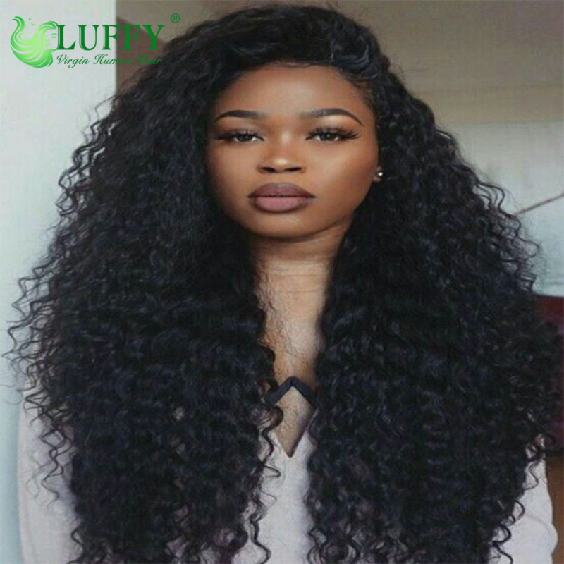 Luffy Curly Pre Plucked Hairline Glueless Full Lace Human Hair Wigs 9A For Black Women Non Remy Brazilian Hair Wig With Baby Hair- MJ008