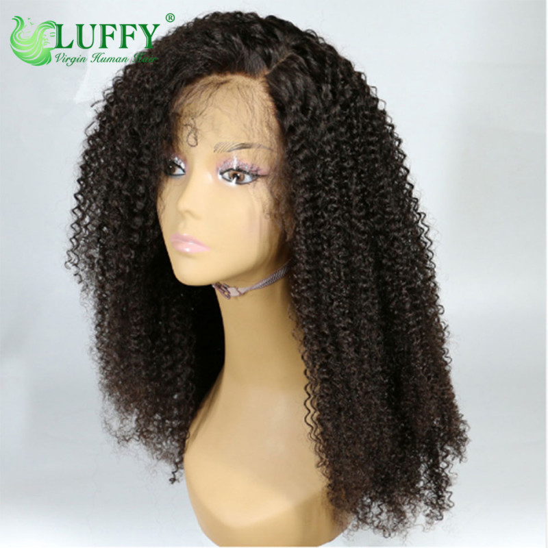 Lace Front Human Hair Wigs For Women Brazilian Afro Kinky Curly Wig Black Remy Hair Pre Plucked Bleached Knots Luffy Wig- WL004