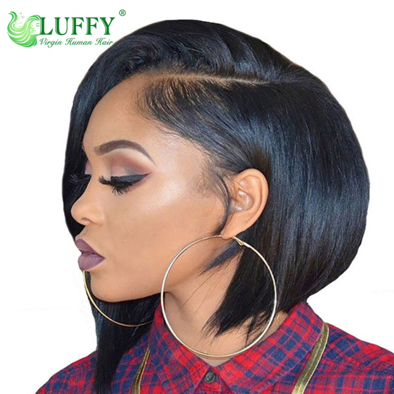 Short Lace Front Human Hair Wigs For Black Women Brazilian Wigs Natural Hairline Bob Wig With Pre Plucked Bleached Knots - WLJ026