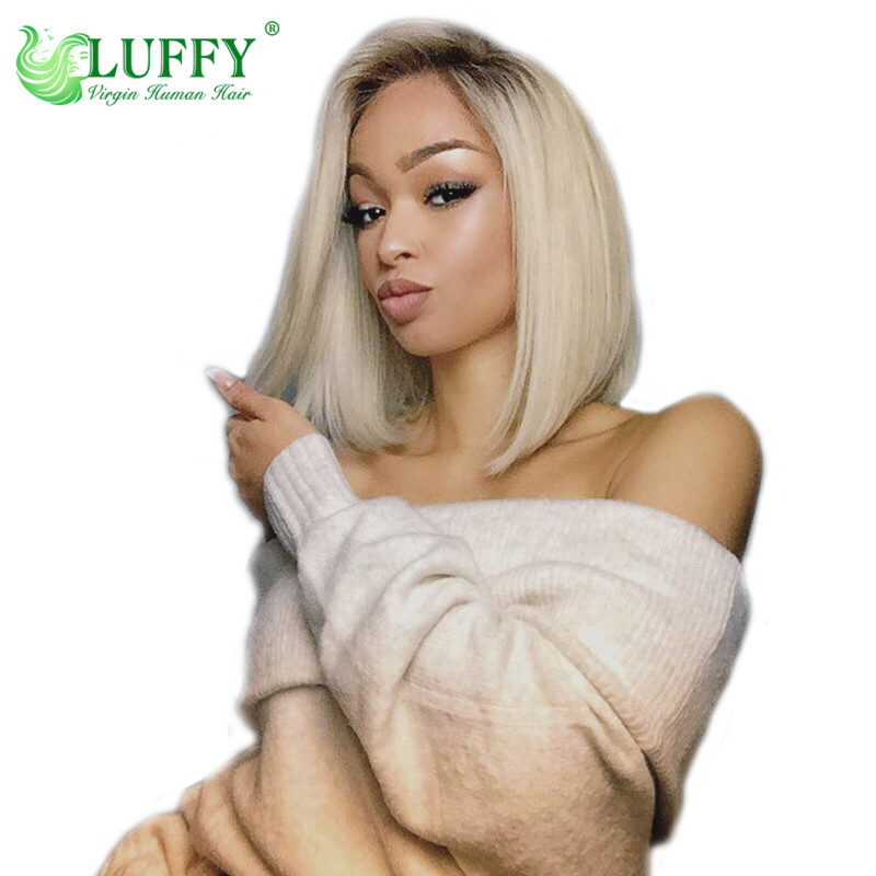 4/613 Dark Roots Blonde Short Bob Lace Front Human Hair Wigs Pre Plucked 150% Density Remy Ombre Lace Wig with Baby Hair - TS001