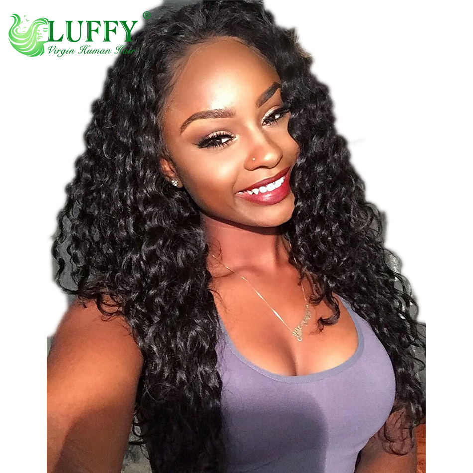 Luffy Long Human Hair Wig Curly 130 180 Density 13 6